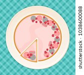 delicious cake with macarons... | Shutterstock .eps vector #1038600088
