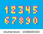 pixel retro video game numbers. ... | Shutterstock .eps vector #1038600103
