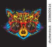 ornamental face of raccoon in...   Shutterstock .eps vector #1038600616