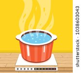 boiling water in pan. cooking... | Shutterstock .eps vector #1038603043