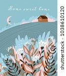 warm summer night in the... | Shutterstock .eps vector #1038610120