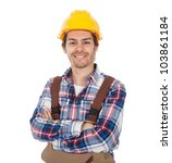 confident worker wearing hard... | Shutterstock . vector #103861184