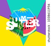 summer creative colorful banner ... | Shutterstock .eps vector #1038611956