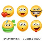 smiley face icons. funny faces... | Shutterstock .eps vector #1038614500