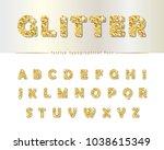 golden glitter font isolated on ... | Shutterstock .eps vector #1038615349