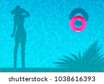 woman shadow silhouette on... | Shutterstock .eps vector #1038616393