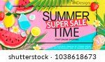 super sale banner with gourmet... | Shutterstock .eps vector #1038618673