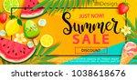 super sale flyer with gourmet... | Shutterstock .eps vector #1038618676