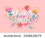 thank you handwritten... | Shutterstock .eps vector #1038618679