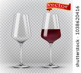 wine glass  empty and with red... | Shutterstock .eps vector #1038620416