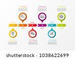 multicolored company timeline   ... | Shutterstock .eps vector #1038622699