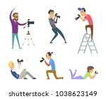 set of photographers at work.... | Shutterstock .eps vector #1038623149
