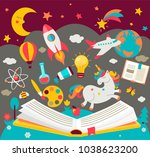 concept of kids dreams while... | Shutterstock .eps vector #1038623200
