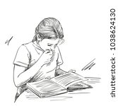 Sketch Of Cute Girl Reading...
