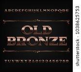 vintage bronze alphabet font.... | Shutterstock .eps vector #1038625753