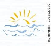 sun and sea logo icon. handmade ... | Shutterstock .eps vector #1038627370