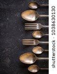vintage kitchen cutlery  on...   Shutterstock . vector #1038630130