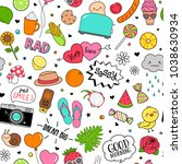 cute funny doodles seamless... | Shutterstock .eps vector #1038630934
