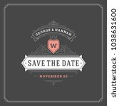 wedding save the date... | Shutterstock .eps vector #1038631600