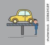 illustration of car garage set | Shutterstock . vector #1038634189