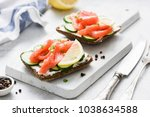 salmon toast with cream cheese... | Shutterstock . vector #1038634588