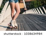 close up of young woman legs... | Shutterstock . vector #1038634984