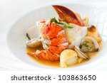 macro close up of seafood dish... | Shutterstock . vector #103863650