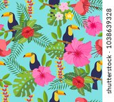 seamless pattern with toucan ... | Shutterstock .eps vector #1038639328
