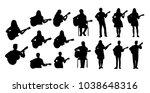 guitarists vector silhouettes   Shutterstock .eps vector #1038648316