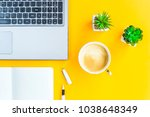 workplace with a biclone  pen ... | Shutterstock . vector #1038648349