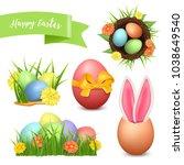 easter set. 3d vector icons... | Shutterstock .eps vector #1038649540