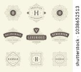 luxury logos templates set ... | Shutterstock .eps vector #1038652513