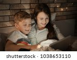 cute little brother and sister...   Shutterstock . vector #1038653110