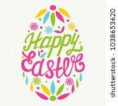 happy easter egg lettering on... | Shutterstock .eps vector #1038653620