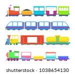 set of different kids trains.... | Shutterstock .eps vector #1038654130