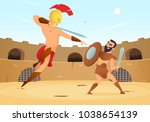 spartan warriors fighting in... | Shutterstock .eps vector #1038654139