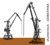 Port crane machinery Building Tower construction. Hand drawn sketch illustration. Black silhouette on white brown backgraund. Applicable for Placards Banners Posters Flyers. Vector