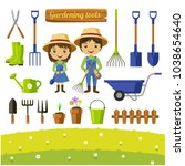 gardening tools collection ... | Shutterstock .eps vector #1038654640