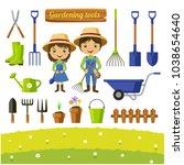 gardening tools collection ... | Shutterstock .eps vector #1038654640