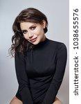 curly hair sexy woman closeup... | Shutterstock . vector #1038655576