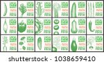 labels with various vegetables. ... | Shutterstock .eps vector #1038659410