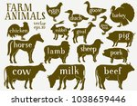 vector farm animals silhouettes.... | Shutterstock .eps vector #1038659446