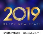 2019 happy new year greetings.... | Shutterstock .eps vector #1038669274