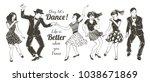dancing people set. young... | Shutterstock .eps vector #1038671869