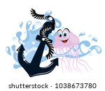 blue anchor in wave with... | Shutterstock .eps vector #1038673780