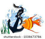 blue anchor in wavewith fish... | Shutterstock .eps vector #1038673786