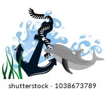 blue anchor in wavewith dolphin ... | Shutterstock .eps vector #1038673789