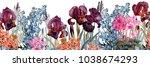 floral horizontal seamless...   Shutterstock . vector #1038674293