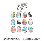 hand drawn vector abstract... | Shutterstock .eps vector #1038676024