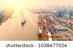 container ship in export and... | Shutterstock . vector #1038677026